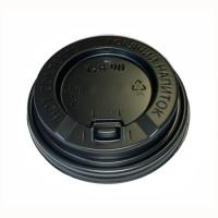 310121 Крышка 80 мм. черная с замком и питейником для стакана 250 мл. (100 шт)