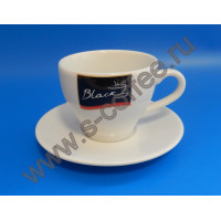 360030 Чашка капучино с блюдцем Coffee Black 150 мл. (6 пар)