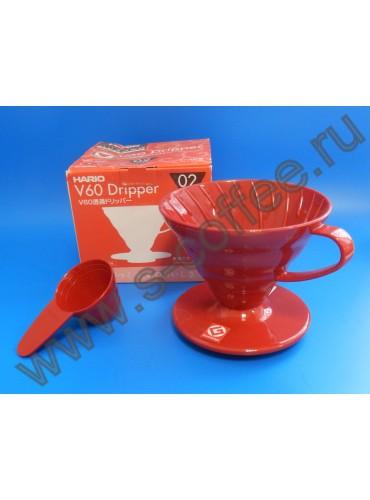 001721 Воронка для пуровера VD-02R, красная, Hario